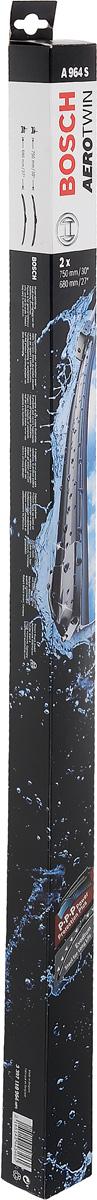 Комплект щеток стеклоочистителя Bosch Aerotwin A964S, 750 мм/680 мм, бескаркасные, 2 шт3397118964Комплект щеток стеклоочистителя Bosch Aerotwin A964S предназначен для Renault Espace 4 02-. Бескаркасные стеклоочистители с оригинальным креплением. Даже на высоких скоростях можно положиться на Aerotwin: их аэродинамическая конструкция гарантирует лучший обзор - даже в самых притязательных погодных условиях. Простейшая замена стеклоочистителей, благодаря предварительно установленному, характерному для автомобиля оригинальному адаптеру. Стеклоочистители обеспечивают высочайшее качество очистки. Прекрасный результат очистки в любой точке стекла, благодаря высокотехнологичной пружинной направляющей и аэродинамически оптимизированному профилю. Минимальные шумы ветра, благодаря меньшей площади воздействия встречного воздуха. Улучшенная пригодность к работе в зимних условиях, потому что лед не примерзает к щетке. Стеклоочистители имеют усовершенствованную конструкцию: встроенный аэродинамический спойлер; более продолжительный срок службы; равномерный износ за...