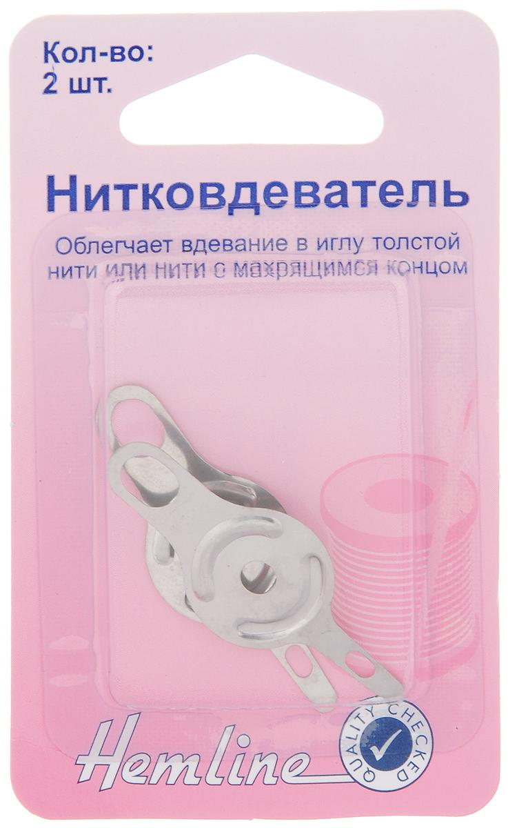 Нитковдеватель Hemline, 2 шт235Нитковдеватель Hemline, выполненный из металла, облегчает вдевание в иглу толстой нити или нити с распушенным концом. В наборе 2 штуки.