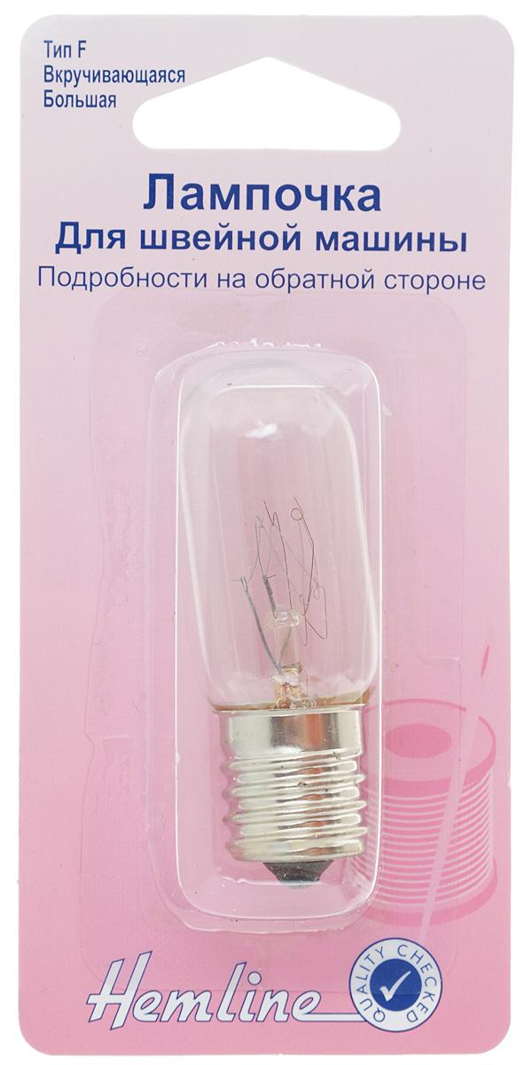 Лампочка для швейной машины Hemline, вкручивающаяся, длинная, 15WC0038552Вкручивающаяся лампочка 15W/240V Hemline подходит для ранних моделей швейных машин и для некоторых электрических приборов.Размер: 2,2 х 2,2 х 5,6 см.Тип: F.Перед тем, как вставить лампочку, необходимо сверить ее с размероморигинальной.
