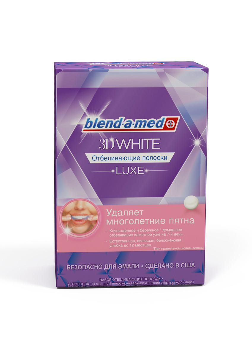 Blend-a-med 3DWhite Luxe Отбеливающие полоски, 14 пар полосокDB4010(DB4.510)/голубой/розовыйБолее белые зубы за 1 день! Отбеливающие полоски Blend-a-med 3D White Luxe - это уникальная возможность добиться видимого отбеливающего эффекта дома легко и безопасно для эмали. Отбеливающие полоски удаляют многолетнее потемнение эмали, которое не способна удалить зубная паста, в том числе от кофе, вина и сигарет. Визуальный эффект наступает после 7 дня применения, а результат длится до 12 месяцев. Безопасно для зубов! Отбеливающие полоски содержат ту же безопасную для эмали технологию (пероксид водорода в содержании 5,25%), которую используют стоматологи при профессиональном отбеливанииЛегко использовать. Полоски повторяют вашу форму зубов, хорошо прилегают и легко снимаются – для быстрого отбеливания без усилий.Упаковка полосок содержит 14 пар полосок (по одной - для верхних и нижних зубов) в индивидуальных упаковках. Необходимо выдерживать полоски на зубах каждый день в течение 1 часа, полный курс рассчитан на 14 дней. Сделано в США.