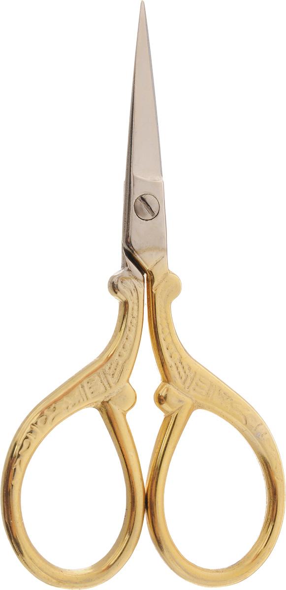Ножницы для вышивания Hemline, длина 9 смB5414Ножницы для вышивания Hemline выполнены из высококачественной нержавеющей стали с позолоченным покрытием. Вышивальщице обязательно нужны ножницы, причем не одни. Ножницы должны быть маленькие и с острыми кончиками. Аккуратные и элегантные ножницы идеально подходят для обрезания нитей. Длина ножниц: 9 см. Длина лезвий: 2,8 см.