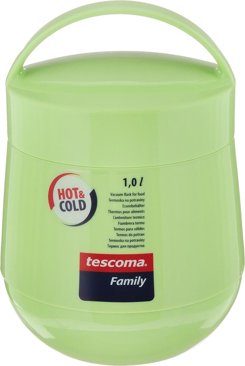 Термос для продуктов Tescoma Family, цвет: фисташковый, 1 л. 310582310582_фисташковыйТермос для продуктов Tescoma Family пригодится в любой ситуации: будь то экстремальный поход, пикник или поездка. Корпус термоса выполнен из высококачественного цветного пластика. Колба термоса изготовлена из стекла, которое является экологически чистым материалом и прекрасно держит температуру. Изделие, оснащенное эргономичной ручкой, предназначено для хранения и переноски теплых и холодных блюд. В комплекте поставляется две пластиковые емкости и универсальная крышка. Емкости вкладываются в изоляционную колбу. Они предназначены для продуктов с высоким содержанием жиров, сахара либо кислот, а также блюд, которые тяжело отмываются со стенок стеклянной колбы. Нейтральные продукты можно хранить непосредственно в самой колбе. Термос Tescoma Family - это идеальный вариант для большой компании и дальней поездки. Не рекомендуется мыть в посудомоечной машине. Диаметр термоса (по верхнему краю): 13 см. Высота термоса (без учета...