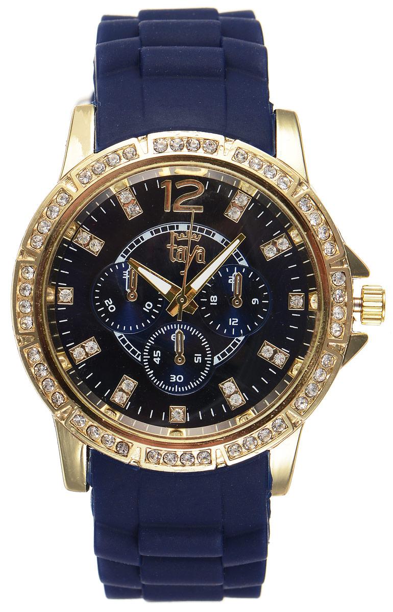 Часы наручные женские Taya, цвет: золотистый, темно-синий. T-W-0213INT-06501Стильные женские часы Taya выполнены из минерального стекла, силикона и нержавеющей стали. Циферблат и корпус часов инкрустированы стразами и оформлены символикой бренда.Корпус часов оснащен кварцевым механизмом со сменным элементом питания, а также силиконовым ремешком с практичной пряжкой. Циферблат дополнен тремя декоративными отметками. На стрелки нанесен светящийся состав.Часы поставляются в фирменной упаковке.Часы Taya подчеркнут изящность женской руки и отменное чувство стиля у их обладательницы.