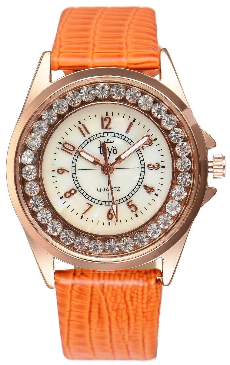 Часы наручные женские Taya, цвет: золотистый, оранжевый. T-W-0038T-W-0038-WATCH-GL.ORANGEЭлегантные женские часы Taya выполнены из минерального стекла, искусственной кожи и нержавеющей стали. Корпус часов украшен стразами, циферблат оформлен перламутром и символикой бренда. Корпус часов оснащен кварцевым механизмом со сменным элементом питания, а также дополнен ремешком из искусственной кожи, который застегивается на пряжку. Ремешок декорирован тиснением под кожу рептилии. Часы поставляются в фирменной упаковке. Часы Taya подчеркнут изящность женской руки и отменное чувство стиля у их обладательницы.