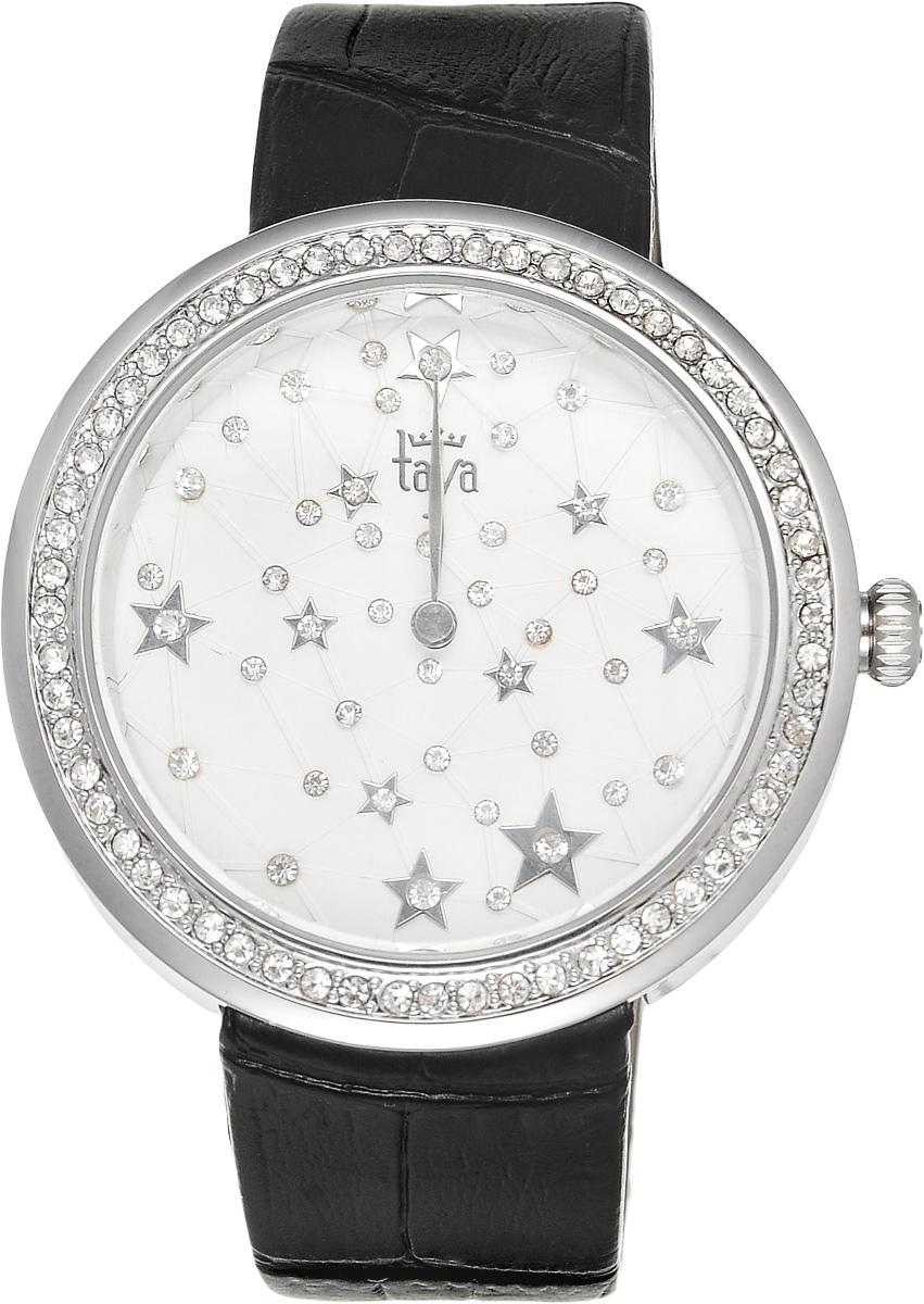 Часы наручные женские Taya, цвет: серебристый, черный. T-W-0010BP-001 BKЭлегантные женские часы Taya выполнены из минерального стекла, натуральной кожи и нержавеющей стали. Циферблат с символикой бренда и корпус часов украшены стразами.Корпус часов оснащен кварцевым механизмом со сменным элементом питания, а также дополнен ремешком из натуральной кожи, который застегивается на пряжку. Ремешок декорирован тиснением под кожу рептилии.Часы поставляются в фирменной упаковке.Часы Taya подчеркнут изящность женской руки и отменное чувство стиля у их обладательницы.