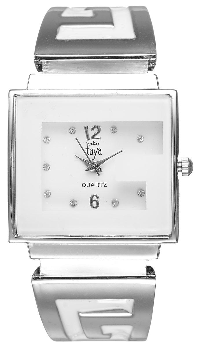 Часы наручные женские Taya, цвет: серебристый, белый. T-W-0403BP-001 BKСтильные женские часы Taya выполнены из минерального стекла и нержавеющей стали. Циферблат часов инкрустирован стразами и украшен символикой бренда.Корпус часов оснащен кварцевым механизмом со сменным элементом питания, а также дополнен раздвижным браслетом с пружинным механизмом, который позволяет надеть часы на любую руку. Браслет оформлен цветной эмалью.Часы поставляются в фирменной упаковке.Часы Taya подчеркнут изящность женской руки и отменное чувство стиля у их обладательницы.