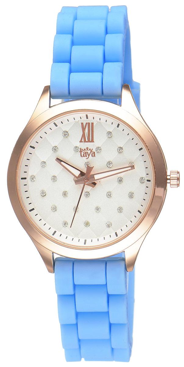 Часы наручные женские Taya, цвет: золотистый, голубой. T-W-0200T-W-0200-WATCH-GL.BLUEСтильные женские часы Taya выполнены из минерального стекла, силикона и нержавеющей стали. Циферблат инкрустирован стразами и оформлен символикой бренда. Корпус часов оснащен кварцевым механизмом со сменным элементом питания, а также силиконовым ремешком с практичной пряжкой. На стрелки нанесен светящийся состав. Часы поставляются в фирменной упаковке. Часы Taya подчеркнут изящность женской руки и отменное чувство стиля у их обладательницы.