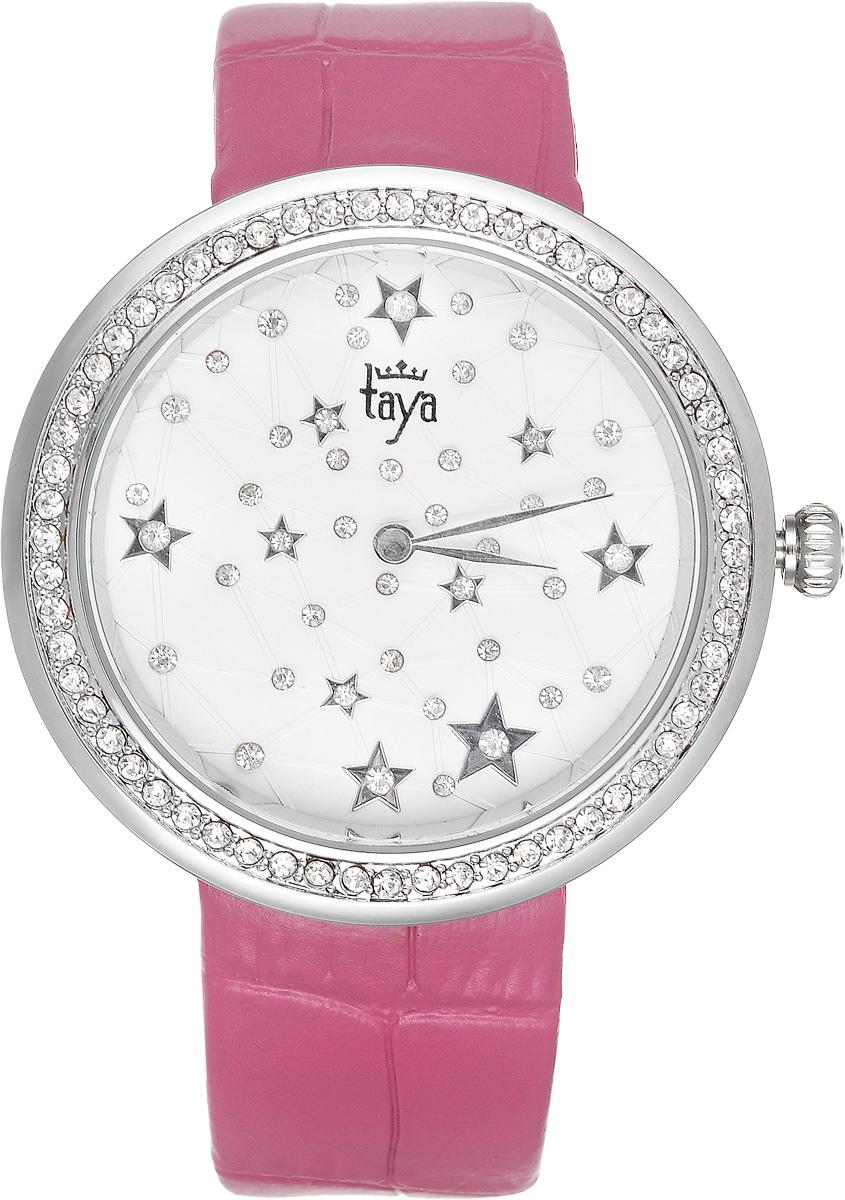 Часы наручные женские Taya, цвет: серебристый, фуксия. T-W-0012INT-06501Элегантные женские часы Taya выполнены из минерального стекла, натуральной кожи и нержавеющей стали. Циферблат с символикой бренда и корпус часов украшены стразами.Корпус часов оснащен кварцевым механизмом со сменным элементом питания, а также дополнен ремешком из натуральной кожи, который застегивается на пряжку. Ремешок декорирован тиснением под кожу рептилии.Часы поставляются в фирменной упаковке.Часы Taya подчеркнут изящность женской руки и отменное чувство стиля у их обладательницы.