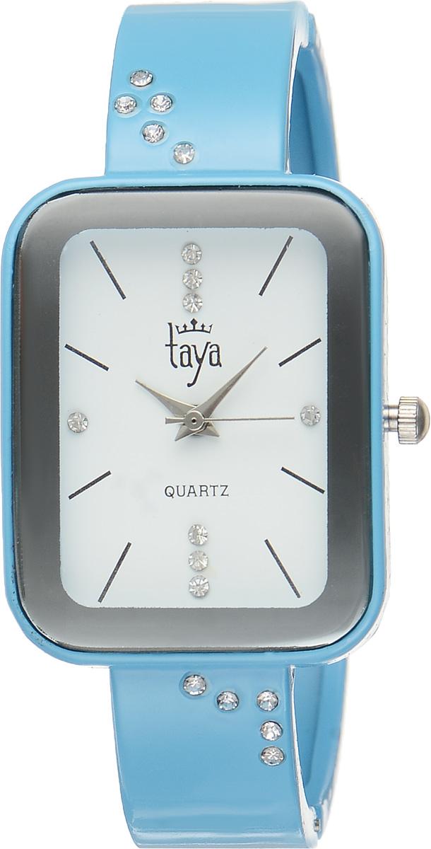Часы наручные женские Taya, цвет: голубой. T-W-0461T-W-0461-WATCH-BLUEСтильные женские часы Taya выполнены из минерального стекла и нержавеющей стали. Браслет и циферблат часов инкрустированы стразами, циферблат дополнен символикой бренда. Корпус часов оснащен кварцевым механизмом со сменным элементом питания, а также дополнен раздвижным браслетом с пружинным механизмом. Часы поставляются в фирменной упаковке. Часы Taya подчеркнут изящность женской руки и отменное чувство стиля у их обладательницы.