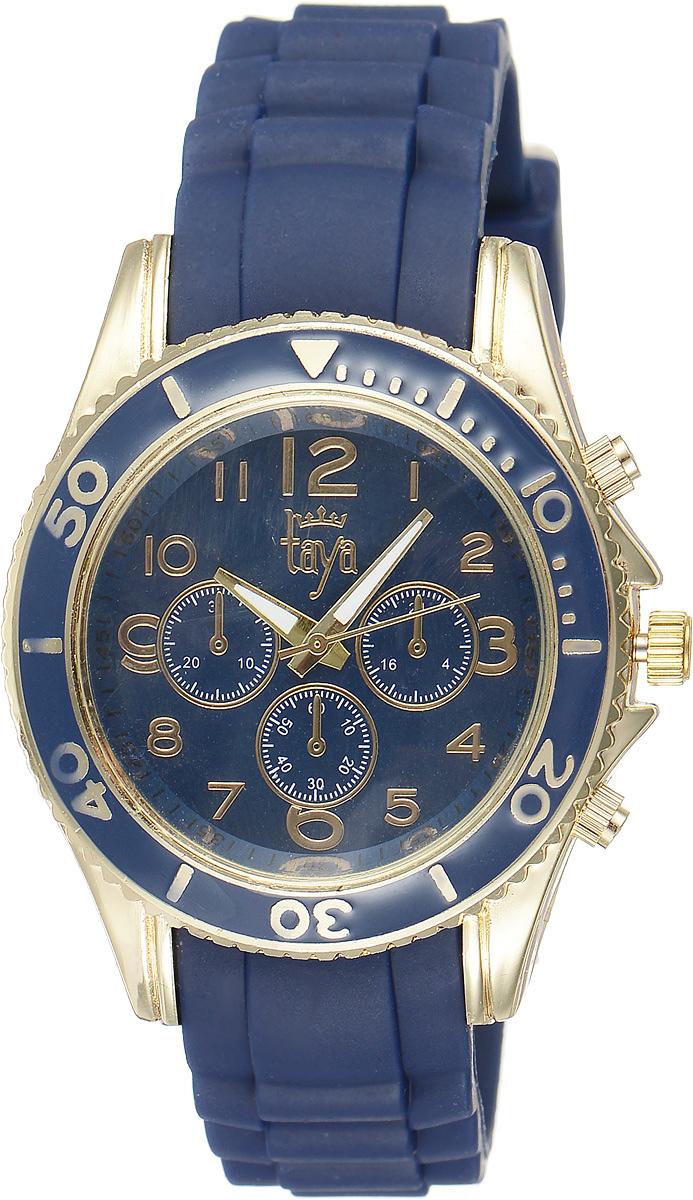 Часы наручные женские Taya, цвет: золотистый, темно-синий. T-W-0240INT-06501Стильные женские часы Taya выполнены из минерального стекла, силикона и нержавеющей стали. Циферблат оформлен символикой бренда и декоративными отметками.Корпус часов оснащен кварцевым механизмом со сменным элементом питания, а также силиконовым ремешком с практичной пряжкой. На стрелки нанесен светящийся состав.Часы поставляются в фирменной упаковке.Часы Taya подчеркнут изящность женской руки и отменное чувство стиля у их обладательницы.