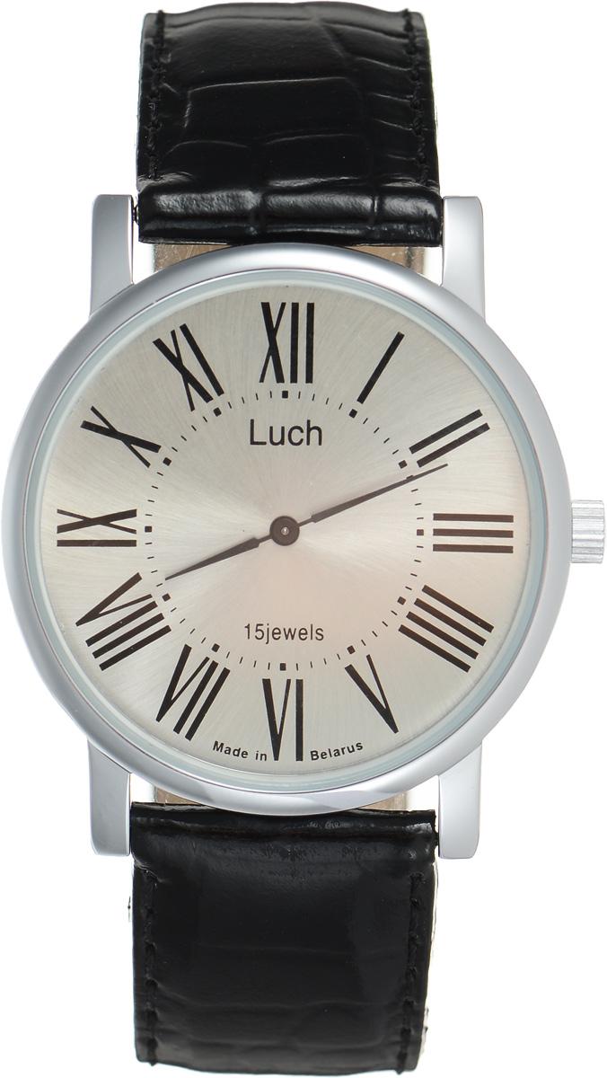 Часы наручные мужские Луч, цвет: серебряный, черный. 78751468INT-06501Стильные часы Луч выполнены из металлического сплава. Круглый корпус часов имеет напыление из хрома, циферблат оформлен символикой бренда.Механические часы с 15 рубиновыми камнями и противоударным устройством оси баланса дополнены ремешком из натуральной кожи с лаковым покрытием и декоративным тиснением. Часы застегиваются на практичную пряжку.Часы Луч подчеркнут отменное чувство стиля их обладателя.