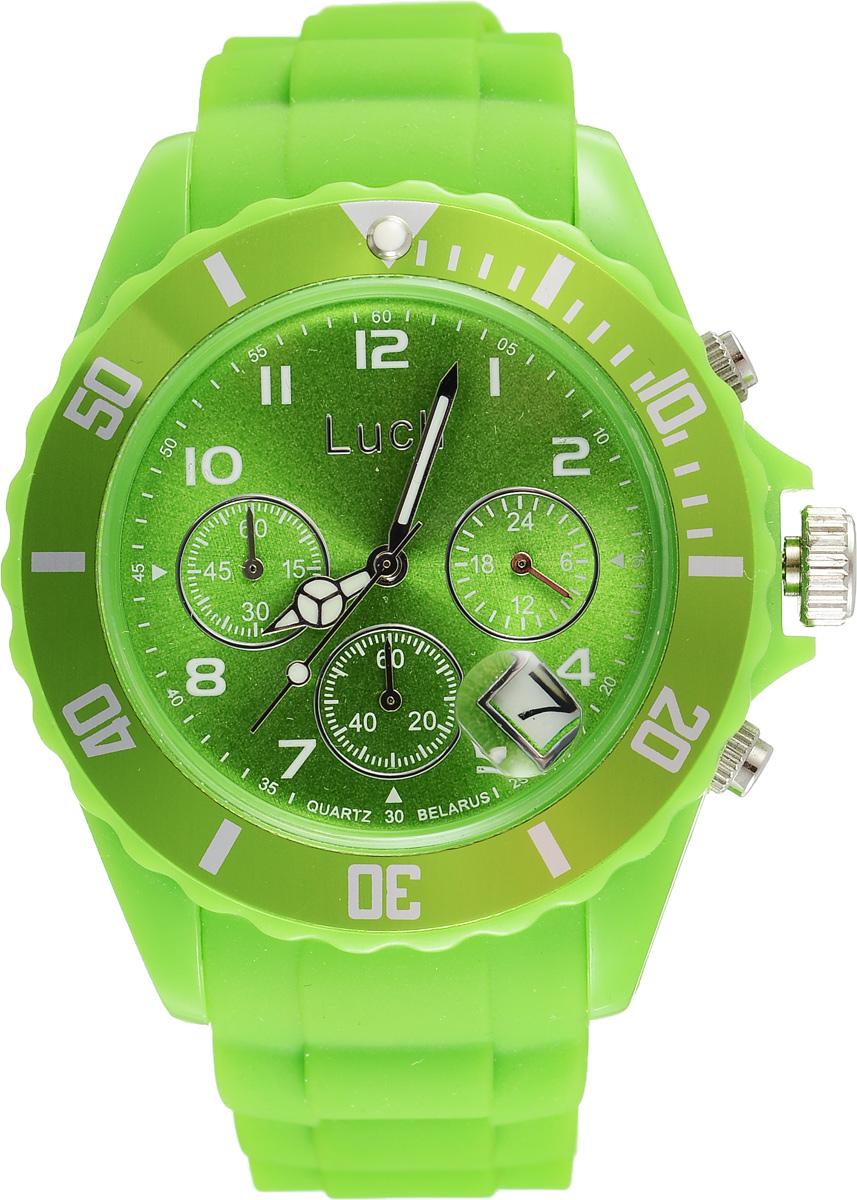 Часы наручные женские Луч, цвет: зеленый. 728885011INT-06501Стильные женские часы Луч выполнены из пластика и силикона. Циферблат оформлен символикой бренда и дополнен индикатором даты, секундомером и индикатором суточного времени.Корпус часов оснащен кварцевым механизмом со сменным элементом питания, а также дополнен браслетом, который застегивается на практичную пряжку. На стрелки нанесен светящийся состав.Часы поставляются в фирменной упаковке.Часы Луч подчеркнут отменное чувство стиля их обладателя.