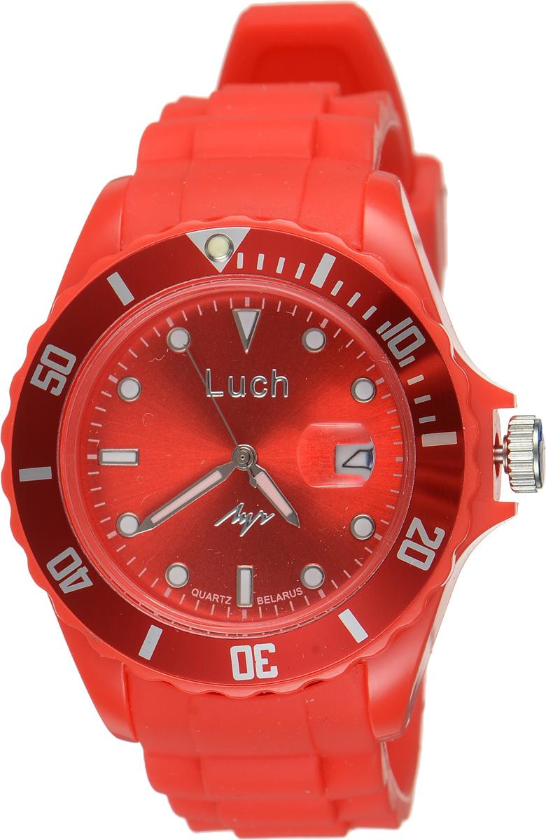 Часы наручные мужские Луч, цвет: красный. 728785940INT-06501Стильные женские часы Луч выполнены из пластика и силикона. Циферблат оформлен символикой бренда и дополнен индикатором даты.Корпус часов оснащен кварцевым механизмом со сменным элементом питания, а также дополнен браслетом, который застегивается на практичную пряжку. На стрелки и циферблат нанесен светящийся состав.Часы поставляются в фирменной упаковке.Часы Луч подчеркнут отменное чувство стиля их обладателя.