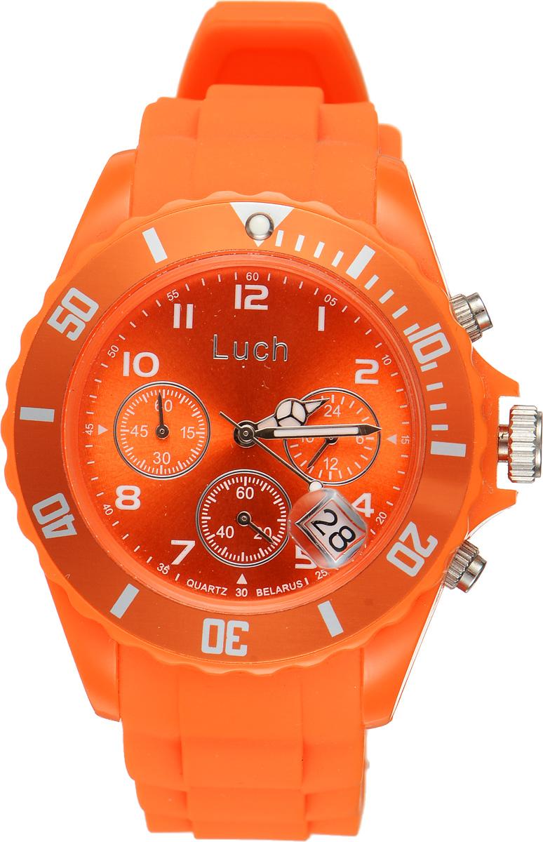 Часы наручные женские Луч, цвет: оранжевый. 728885015INT-06501Стильные женские часы Луч выполнены из пластика и силикона. Циферблат оформлен символикой бренда и дополнен индикатором даты, секундомером и индикатором суточного времени.Корпус часов оснащен кварцевым механизмом со сменным элементом питания, а также дополнен браслетом, который застегивается на практичную пряжку. На стрелки нанесен светящийся состав.Часы поставляются в фирменной упаковке.Часы Луч подчеркнут отменное чувство стиля их обладателя.