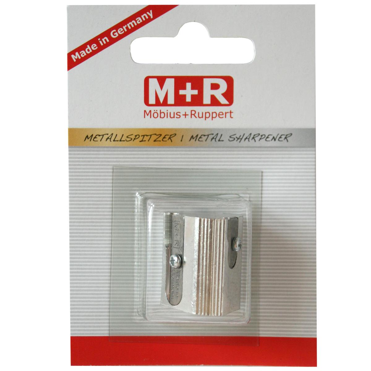M+R Точилка с тремя отверстиями0207-0002Точилка M+R выполнена из качественного металла. В точилке имеются три отверстия для карандашей стандартного диаметра. Точилка подходит для заточки чернографитных и цветных карандашей. Эргономичная оригинальная форма сделает эту точилку незаменимым аксессуаром среди ваших канцелярских принадлежностей.