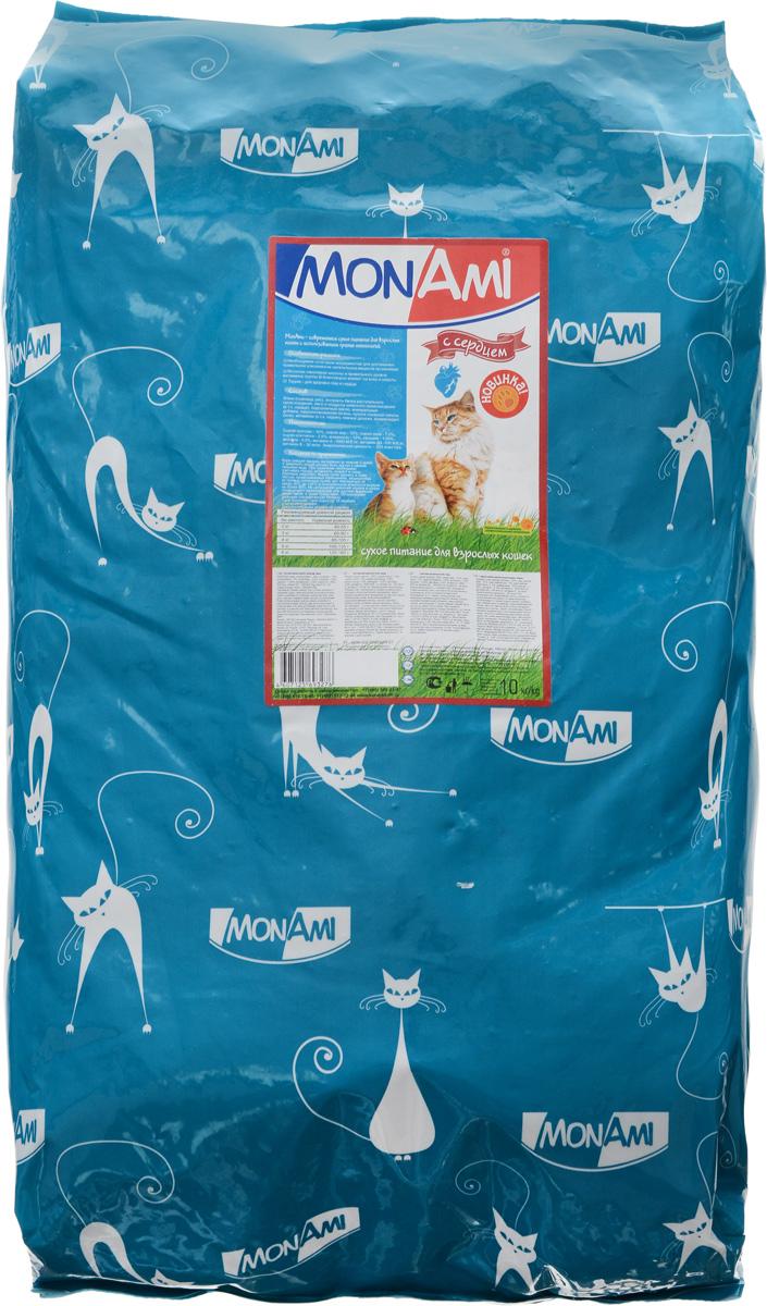 Корм сухой Mon Ami, для взрослых кошек, с сердцем, 10 кг0120710Вкусный и полезный сухой корм Mon Ami - это то, что нужно вашей кошке, чтобы быть здоровой и счастливой. Особенности рациона: - Необходимое сочетание ингредиентов для достижения правильной усвояемости питательных веществ организмом.-Источник линолевой кислоты кислоты и правильного уровня витаминов группы В благотворно влияют на кожу и шерсть.Таурин - для здоровья глаз и сердца.Необыкновенный вкус понравится даже самым взыскательным питомцам, а полезность этого аппетитного обеда порадует хозяев. Товар сертифицирован.Уважаемые клиенты!Обращаем ваше внимание на возможные изменения в дизайне упаковки. Качественные характеристики товара остаются неизменными. Поставка осуществляется в зависимости от наличия на складе.