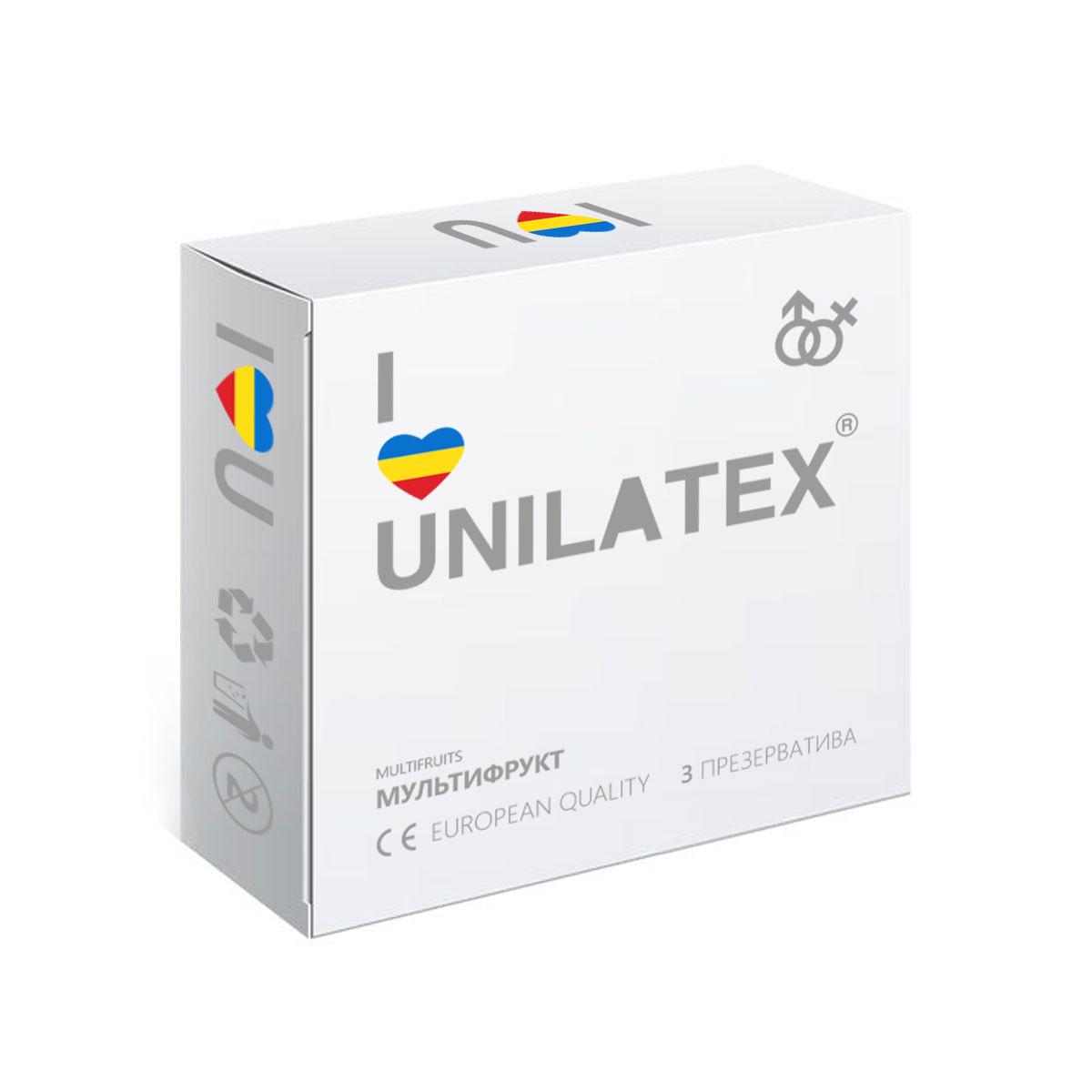 Презервативы Unilatex Multifruits, 3 штRef. 3003Ароматизированные презервативы из натурального латекса красного, желтого и синего цветов, покрыты силиконовой смазкой с ароматами клубники, банана и мультифрукта.