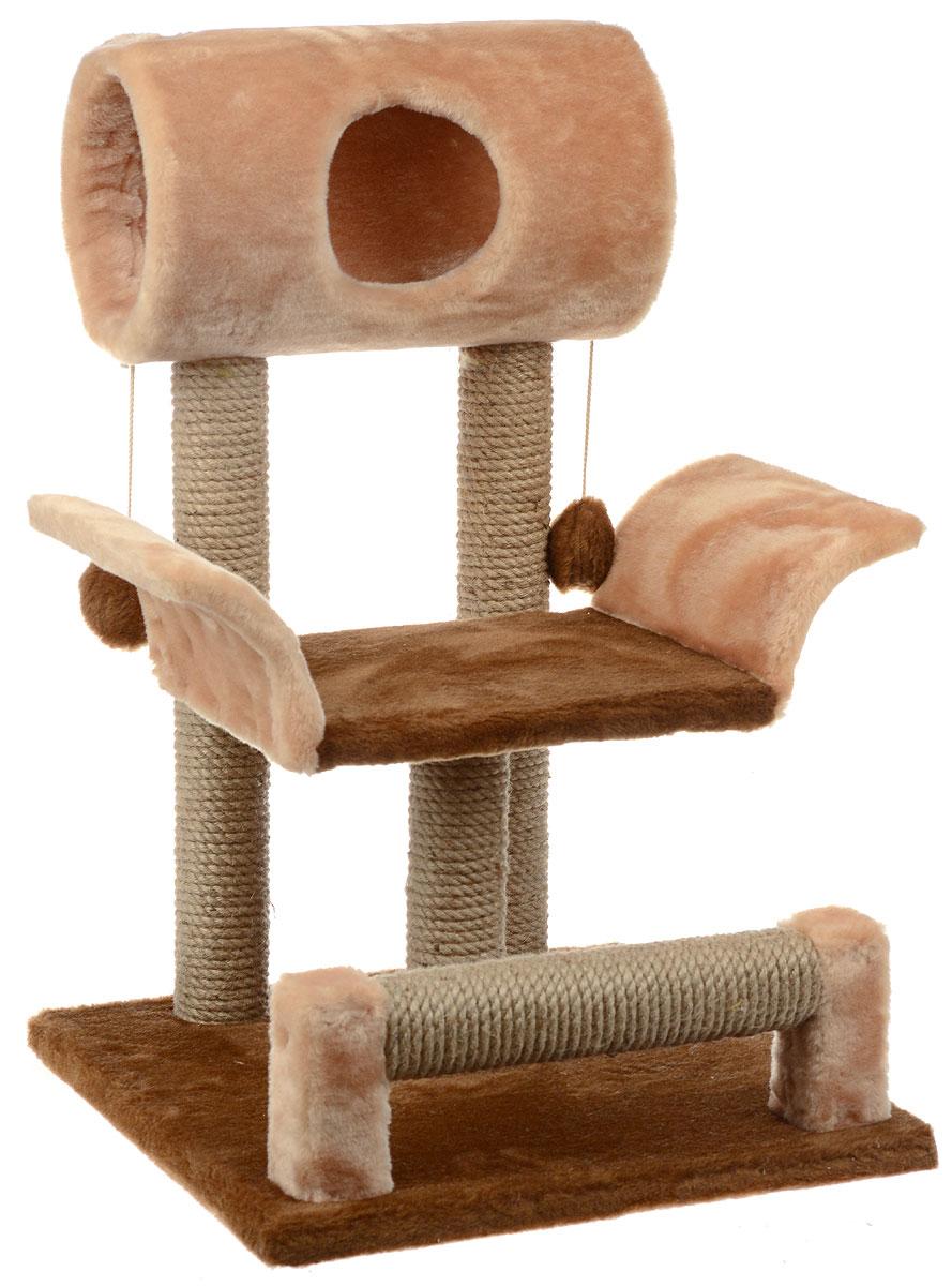 Игровой комплекс для кошек ЗооМарк Васька, цвет: коричневый, светло-коричневый, бежевый, 52 х 46 х 69 см144Игровой комплекс для кошек ЗооМарк Васька прекрасно подойдет для животного, которое длительное время остается одно дома. Обеспечивая уютное место для сна и отдыха, комплекс является отличной игровой площадкой для развлечения скучающего животного. Комплекс изготовлен из дерева и обтянут искусственным мехом. Столбики, выполненные из джута, на длительное время отвлекут вашу кошку от мягкой мебели и обоев в доме, а подвесная игрушка развлечет питомца. Комплекс имеет лежак, на котором животное сможет отдохнуть. Сверху имеется туннель. Общий размер комплекса: 52 х 46 х 69 см. Размер туннеля: 36 х 20 х 20 см. Размер лежака (рабочая часть): 31 х 26 см.