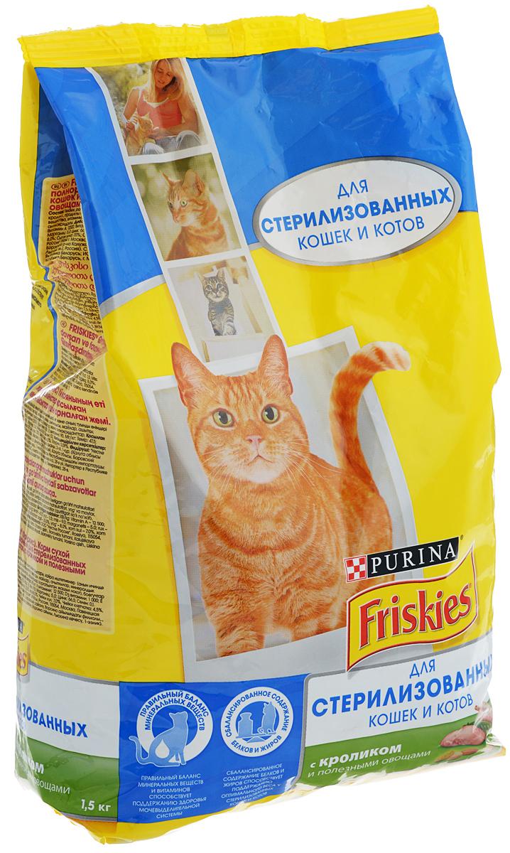Корм сухой Friskies для стерилизованных кошек, с кроликом и овощами, 1,5 кг60090Полнорационное и вкусное питание Friskies, специально разработанное для стерилизованных кошек и котов, изготовлено с использованием ингредиентов высокого качества. Стерилизованные кошки и коты склонны набирать лишний вес и чаще подвержены заболеваниям мочевыделительной системы из-за специфических изменений в организме. В связи с этим, их ежедневный рацион должен содержать правильное соотношение жиров, белков и всех необходимых витаминов и минеральных веществ. Friskies - это полнорационное сбалансированное питание, специально разработанное для стерилизованных питомцев. Корм поддерживает здоровье и жизненную энергию вашего питомца, позволяя ему удивлять и радовать вас каждый день. Особенности: - Сбалансированное содержание белков и жиров способствует поддержанию оптимального веса. - Правильный баланс минеральных веществ и витаминов способствует поддержанию здоровья мочевыделительной системы. - Витамин Е поддерживает иммунитет. ...