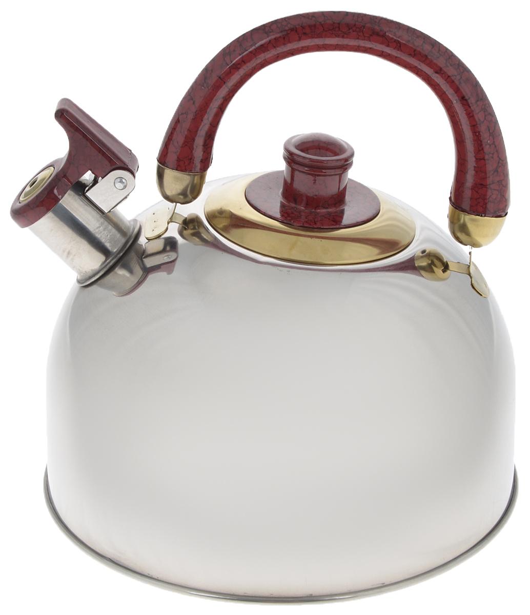 Чайник Mayer & Boch, со свистком, цвет: стальной, бордовый, золотистый, 3,5 л. 10691069А_стальной, бордовый, золотойЧайник Mayer & Boch изготовлен из высококачественной нержавеющей стали, что делает его весьма гигиеничным и устойчивым к износу при длительном использовании. Утолщенное дно обеспечивает равномерный и быстрый нагрев, поэтому вода закипает гораздо быстрее, чем в обычных чайниках. Чайник оснащен откидным свистком, звуковой сигнал которого подскажет, когда закипит вода. Подвижная ручка из бакелита дает дополнительное удобство при разлитии напитка. Чайник Mayer & Boch идеально впишется в интерьер любой кухни и станет замечательным подарком к любому случаю. Подходит для газовых, стеклокерамических, галогеновых и электрических плит. Не подходит для индукционных. Можно мыть в посудомоечной машине. Высота чайника (без учета ручки и крышки): 13 см. Высота чайника (с учетом ручки и крышки): 21,5 см. Диаметр чайника (по верхнему краю): 8,5 см.