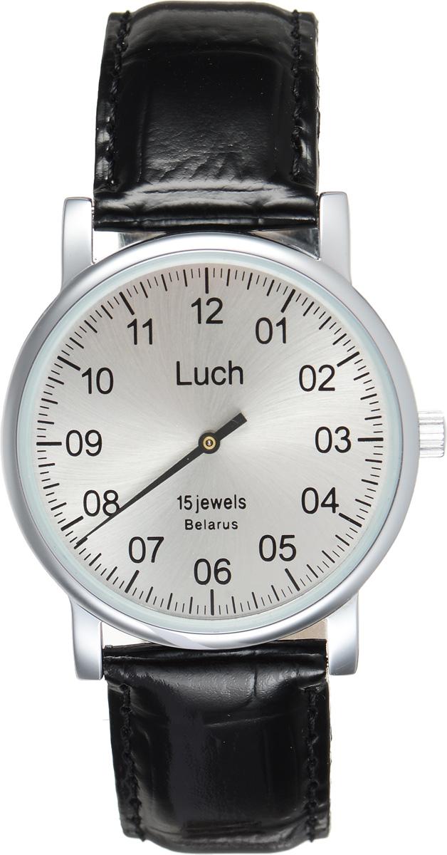 Часы наручные мужские Луч, цвет: черный, серебряный. 3747176237471762Стильные часы Луч выполнены из металлического сплава и силикатного стекла. Корпус часов имеет покрытие из хрома, которое обладает особой стойкостью к истиранию. Циферблат оформлен символикой бренда. Механические часы с противоударным устройством оси баланса на 15 рубиновых камнях дополнены ремешком из натуральной кожи, который застегивается на практичную пряжку. Кожаный ремешок дополнен лаковым покрытием. Часы поставляются в фирменной упаковке. Часы Луч подчеркнут отменное чувство стиля у их обладателя.