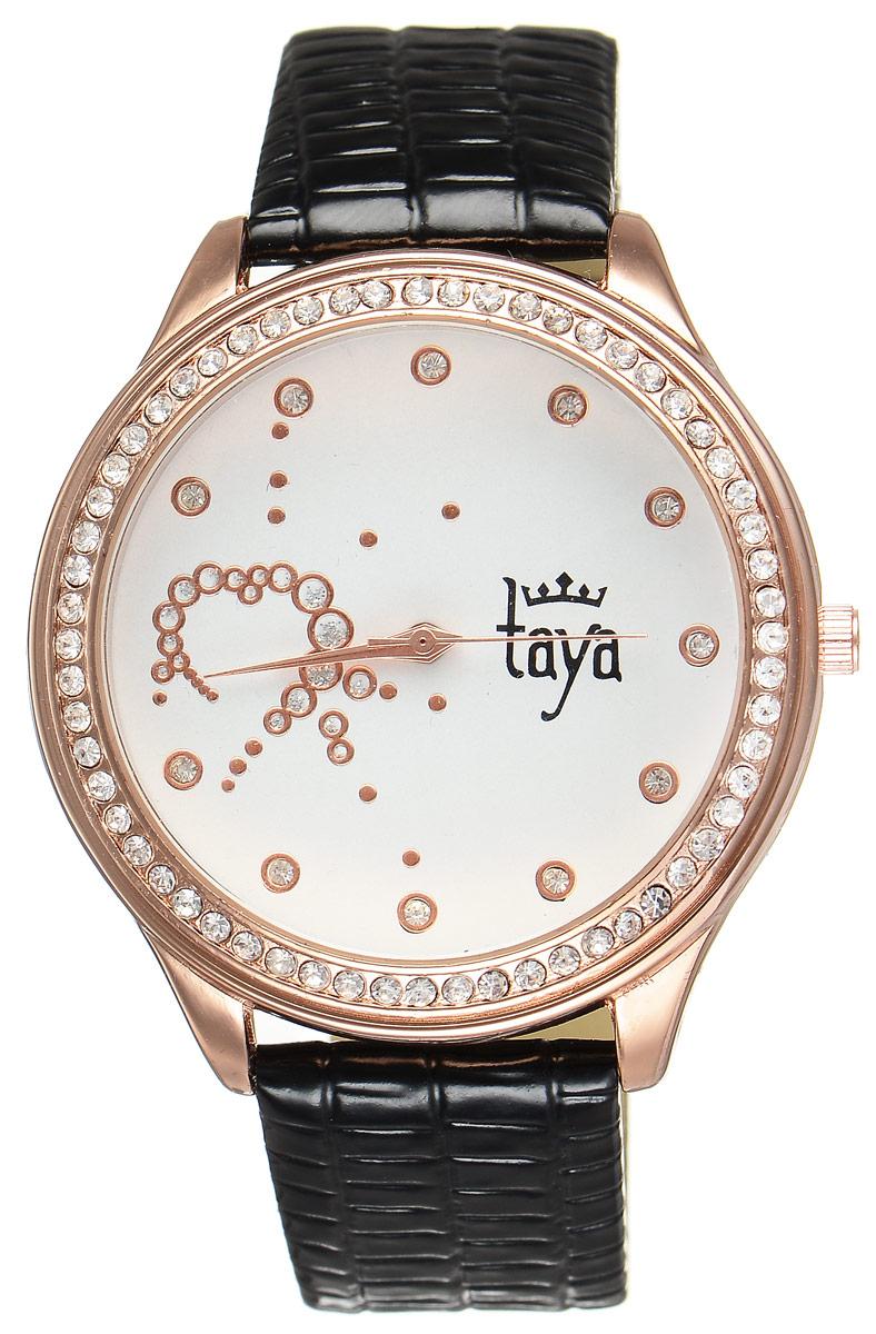 Часы наручные женские Taya, цвет: золотистый, черный. T-W-0027T-W-0027-WATCH-GL.BLACKЭлегантные женские часы Taya выполнены из минерального стекла, искусственной кожи и нержавеющей стали. Циферблат инкрустирован стразами внутри и по внешней стороне окружности. Корпус часов оснащен кварцевым механизмом со сменным элементом питания, а также дополнен ремешком из искусственной кожи, который застегивается на пряжку. Ремешок декорирован тиснением под кожу рептилии. Часы поставляются в фирменной упаковке. Часы Taya подчеркнут изящность женской руки и отменное чувство стиля у их обладательницы.