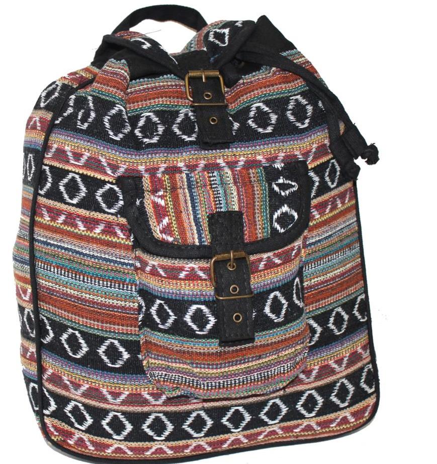 Рюкзак женский Ethnica, цвет: черный, бордовый. 187250BP-001 BKСтильный женский рюкзак Ethnica выполнен из натурального хлопка. Закрывается изделие при помощи затягивающего шнурка с клапаном на металлической пряжке. Спереди рюкзак дополнен объемным карманом. Оформлена модель ярким принтом в полоску.