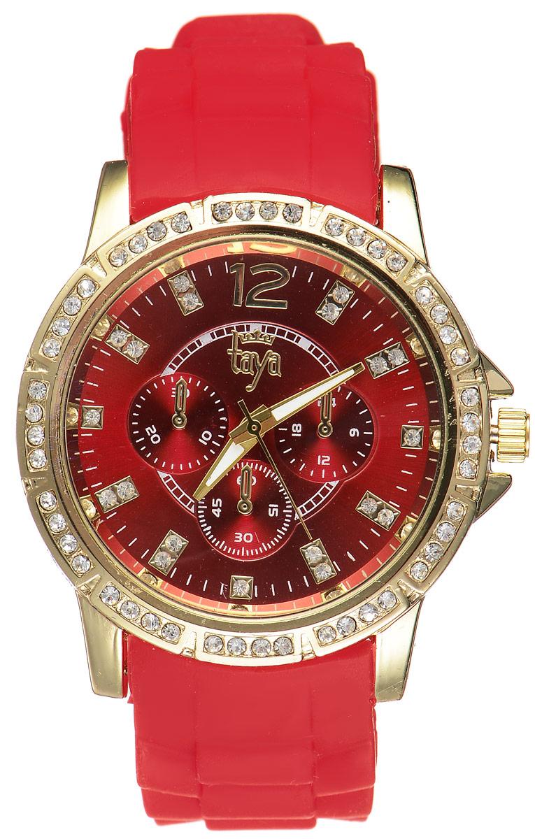 Часы наручные женские Taya, цвет: золотистый, красный. T-W-0229T-W-0229-WATCH-GL.REDСтильные женские часы Taya выполнены из минерального стекла, силикона и нержавеющей стали. Циферблат и корпус часов инкрустированы стразами и оформлены символикой бренда. Корпус часов оснащен кварцевым механизмом со сменным элементом питания, а также силиконовым ремешком с практичной пряжкой. Циферблат дополнен тремя декоративными отметками. На стрелки нанесен светящийся состав. Часы поставляются в фирменной упаковке. Часы Taya подчеркнут изящность женской руки и отменное чувство стиля у их обладательницы.