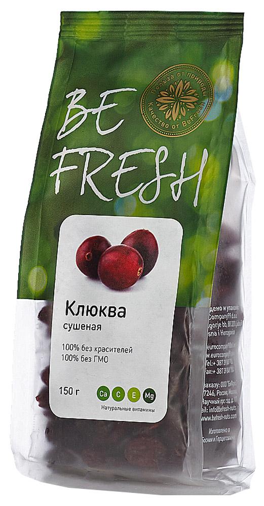 BeFresh клюква сушеная, 150 г3872084008022Отборная, сладкая и сочная клюква сохраняет все полезные свойства. Идеально подходит в качестве легкой и низкокалорийной добавки к кашам, йогуртам, а также для выпечке и салатам.
