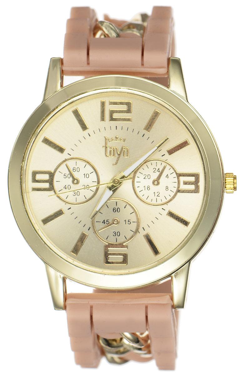 Часы наручные женские Taya, цвет: золотистый, бежевый. T-W-0217T-W-0217-WATCH-GL.BROWNСтильные женские часы Taya выполнены из минерального стекла, силикона и нержавеющей стали. Циферблат часов оформлен символикой бренда и тремя декоративными отметками. Корпус оснащен кварцевым механизмом со сменным элементом питания. На стрелки нанесен светящийся состав. Браслет, выполненный из силикона и декорированный цепочками, застегивается на практичную пряжку. Изделие поставляется в фирменной упаковке. Часы Taya подчеркнут изящность женской руки и отменное чувство стиля у их обладательницы.