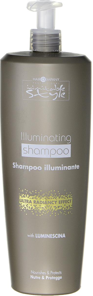 Hair Company Шампунь, придающий блеск Professional Inimitable Style Illuminating Shampoo 1000 млLB12406 RUS NEWШампунь для блеска HAIR COMPANY INIMITABLE STYLE Illuminating Shampoo Питает и защищает волосы. Содержит специально разработанный ингредиент LUMINESCINE - отражает солнечные лучи, придает блеск и шелковистость волосам. Не содержит парабены и SLES. Защищает волосы и кожу головы. Подходит для тонких и ослабленных волос.