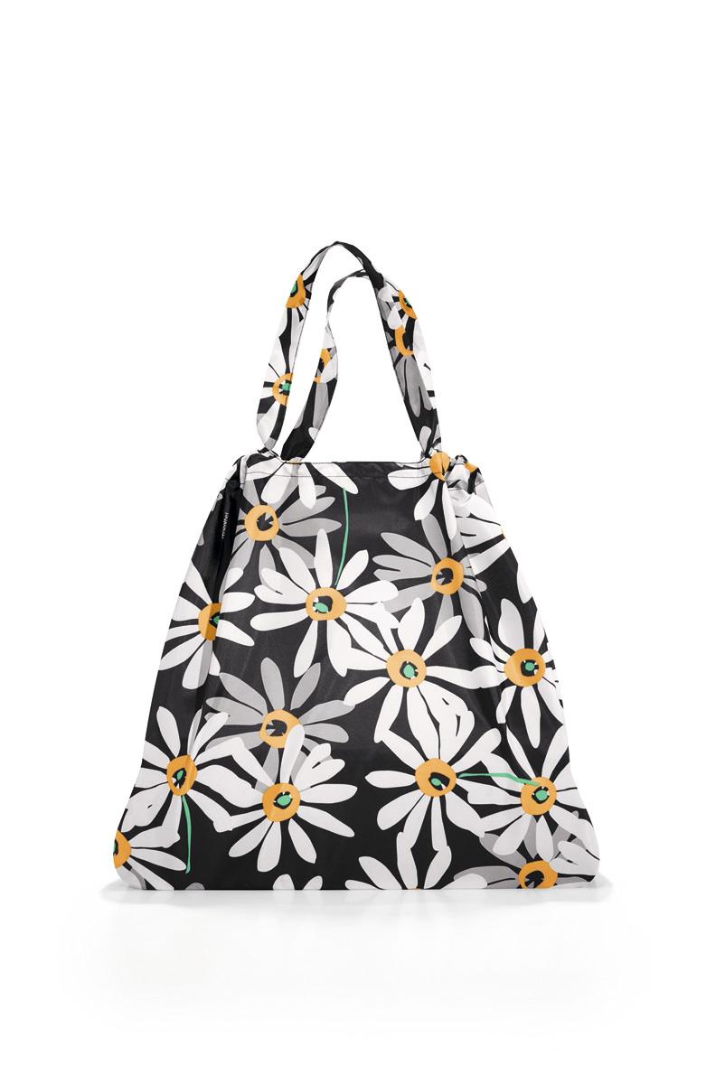 Сумка женская Reisenthel, складная, цвет: черный, белый, серый. AR7038AR7038Модная женская сумка Reisenthel выполнена из текстиля и оформлена цветочным принтом. Изделие имеет одно большое отделение. Внутри расположен нашивной карман на застежке- молнии, в который сумка легко складывается. Сумка оснащена двумя ручками.
