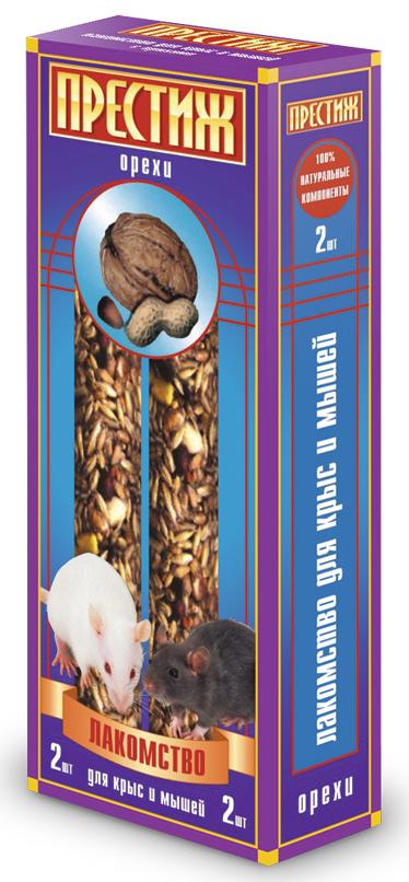 Лакомство для декоративных крыс и мышей Престиж палочки с орехами, 2 шт4627092860150Лакомство Престиж для декоративных Крыс и Мышей в виде жестких палочек – это идеально сбалансированное лакомство специально для крыс и мышей, в Состав: которого входят все самое полезное и необходимое, оно способно понравиться даже самому капризному зверьку. Лакомство является жестким, а потому оно идеально подходит для необходимого стачивания резцов у грызунов. Состав: Ячмень, пшеница, кукуруза, горох плющеный, арахис в скорлупе, семена подсолнечника, орехи, витамины.