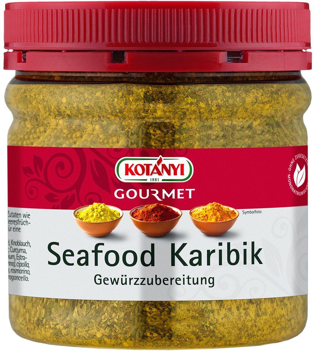 Kotanyi Для морепродуктов по-карибски, 227 г0120710Приправа для морепродуктов по-карибски Информация о продукте: для рыбы и морепродуктов, а также для овощей и сыра тофу. Состав: соль йодированная (соль, калия йодид), коричневый сахар (сахар, сахарный сироп, карамельный сахарный сироп), лук, чеснок, черный перец, куркума, розмарин, лимонная цедра (2,5%), тимьян, петрушка, мята, чабер, базилик, натуральный ароматизатор лимон, эстрагон. Может содержать следы глютеносодержащих злаков, яиц, сои, сельдерея, кунжута, орехов, горчицы, молока (лактозы). Пищевая ценность в 100 г: энергетическая ценность: 929 кДж/221 кКал, белки 5 г, углеводы 42 г, жиры 1,5 г. Хранить плотно закрытым в сухом месте.