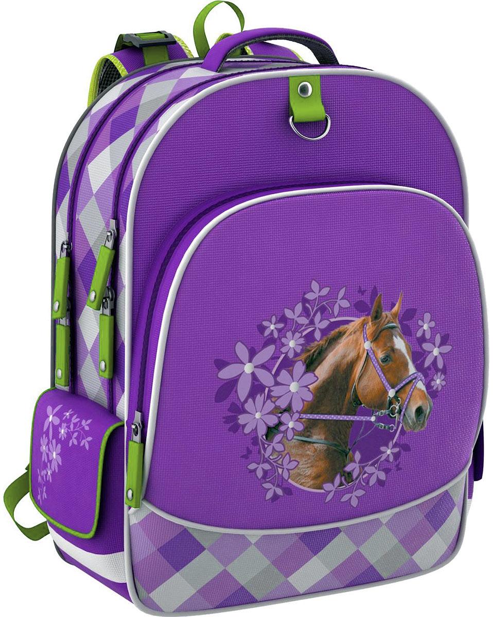 Erich Krause Рюкзак детский Wild HorseSCCB-UT1-883Школьный рюкзак Erich Krause Wild Horse станет надежным спутником в получении знаний. Рюкзак выполнен из прочного водостойкого полиэстера и оформлен объемной аппликацией лошади в окружении цветов. Рюкзак состоит из двух вместительных отделений, закрывающихся на застежки-молнии с двумя бегунками. Одно из отделений содержит кармашек для мелочей на застежке-молнии и три разделителя на широкой резинке. На лицевой стороне расположен внешний глубокий карман на застежке-молнии, который содержит два кармана без застежки, кармашек сеточкой на застежке-молнии, кармашек для мобильного телефона с клапаном на липучке и фиксатор для ручки. По бокам рюкзака находятся два внешних накладных кармана, закрывающихся клапаном на липучке.Конструкция ортопедической спинки рюкзака разработана по специальной технологии, позволяющей уменьшить нагрузку на спину. Рюкзак оснащен широкими мягкими лямками, регулируемыми по длине, которые равномерно распределяют нагрузку на плечевой пояс, удобной текстильной ручкой и петлей для подвешивания. Дно рюкзака дополнено двумя широкими пластиковыми ножками, которые помогут уберечь его от загрязнений и продлить срок службы. Рюкзак снабжен светоотражающими вставками.
