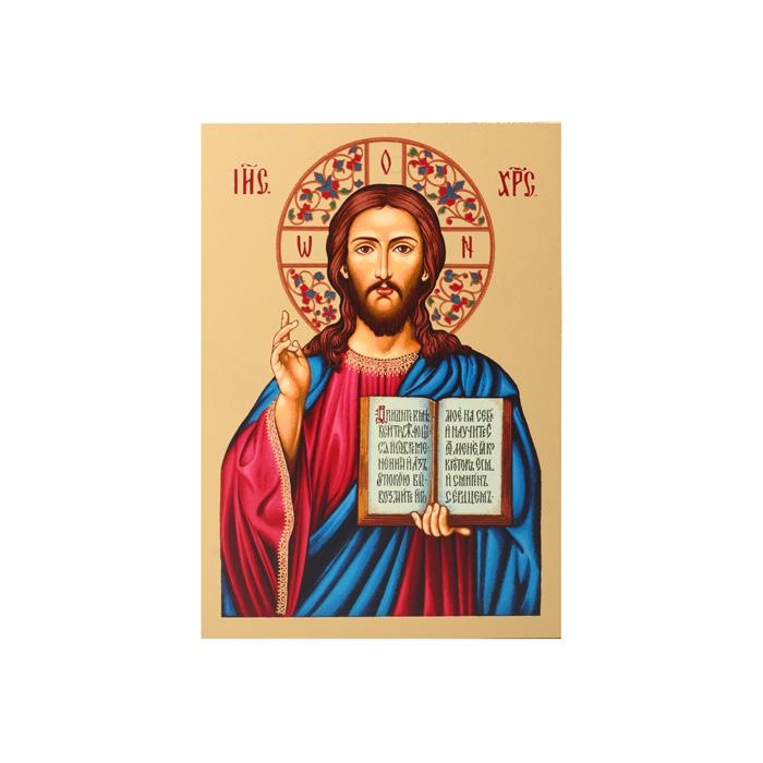 Икона Артола Иисус Христос, 9 см х 12,5 см х 2 смIR-IX-P1Православная каноничная икона. Современная оригинальная интерпретация. Афинская иконописная школа. Метод нанесения образа на полотно - полноцветная многослойная шелкография. Золотой фон - поталь. Деревянная основа (мдф + шпон) имеет отверстие для крепления.