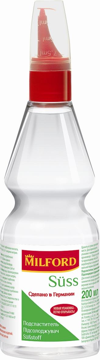 Milford Suss подсластитель жидкий, 200 млнаа104Подсластители Milford Suss одними из первых появились на российском рынке сахарозаменителей и уже успели приобрести широкий круг поклонников. Сегодня подсластители Milford Suss - это лидеры рынка сахарозаменителей. Продукт производится в Германии при постоянном контроле качества. Все производственные процессы соответствуют предписаниям европейского законодательства и отвечают стандартам в области продуктов питания. Подсластители Milford Suss выпускаются в таблетках и в жидком виде. При использовании жидкого подсластителя 1 чайная ложка = 4 столовым ложкам сахара. Точные дозировки и суточные нормы потребления указаны на этикетке. Milford Suss в жидком виде используется в домашней кулинарии при варке варенья, джемов, компотов, для приготовления десертов, в выпечке. Основную линейку подсластителей Milford Suss составляют продукты на основе смеси цикламата и сахарина. Уважаемые клиенты! Обращаем ваше внимание, что полный перечень состава продукта...
