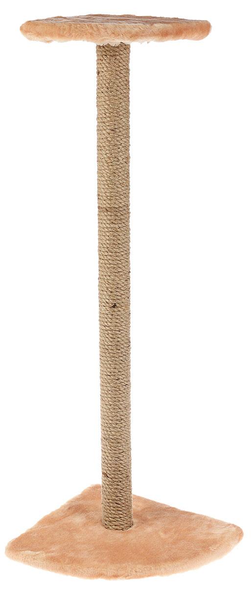 Когтеточка Зоомарк, угловая, с полкой, высота 100 см, цвет: бежевый102-2_бежевый