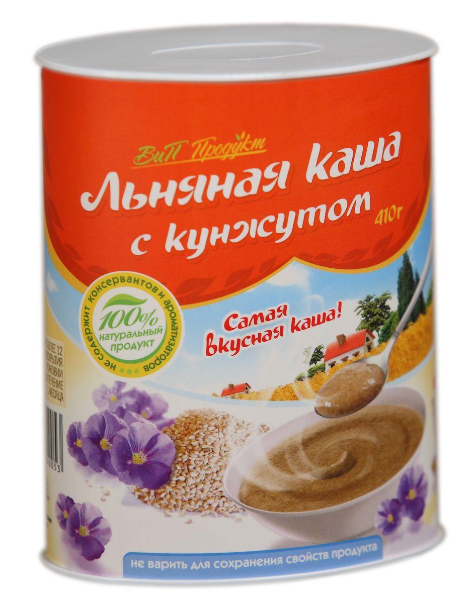 Вип Продукт Льняная каша с кунжутом, 410 г0120710Льняная каша с кунжутом ВиП Продукт не содержит соли и сахара. Её можно заливать горячей или холодной водой, либо молоком, взбивая до получения однородной массы, и доводить до желаемого вкуса добавлением сухофруктов, меда, варенья, сгущенного молока, соли, сахара. Льняную кашу можно добавлять к супам-пюре, домашним выпечкам, соусам, любым овощным и фруктовым салатам, а также в другие уже готовые каши. Добавляя льняную кашу в состав любого блюда на вашем столе, вы повысите его пищевую ценность, обогатите витаминами и микроэлементами, сбалансируете его аминокислотный состав.Льняная каша с кунжутом ВиП Продукт сочетает в себе пользу семян льна и кунжута, который издавна в Китае и на Востоке ассоциировался с бессмертием. В кунжуте много белка, витаминов Е, группы B, A и C, кальция, магния, цинка, фосфора, железа, клетчатки, фитостерина, сезамина, сезамолина, глицеридов олеиновой, линолевой, пальмитиновой, стеариновой, арахиновой и лигноцериновой кислот. Большинство из этих кислот самостоятельно не вырабатываются, и мы должны регулярно получать их из пищи.