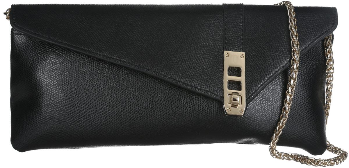 Сумка-клатч женская Leo Ventoni, цвет: черный. LV60443-47670-00504Стильный клатч Leo Ventoni, изготовленный из натуральной кожи, оформлен металлической фурнитурой.Изделие застегивается клапаном на замок-вертушку. Внутри сумки расположен врезной карман на молнии. На задней стороне сумки расположен накладной карман на магнитной кнопке. Изделие оснащено плечевым ремнем в виде объемной цепочки. В комплекте с изделием поставляется фирменный чехол для хранения. Элегантный клатч прекрасно дополнит ваш образ.