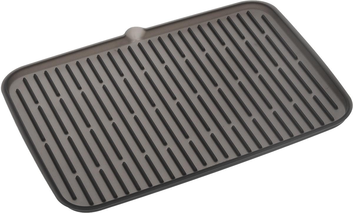 Сушилка для посуды Tescoma Clean Kit, силиконовая, цвет: серый, 42 х 24 смVT-1520(SR)Эластичная сушилка для посуды Tescoma Clean Kit, выполненная из гибкого силикона, защитит кухонную столешницу от влаги. Благодаря ребристой поверхности, которая расположена под наклоном, вода стекает в одну сторону. Направьте боковой носик в раковину и вода будет стекать туда. Если рядом раковины нет, то используйте обратную сторону сушилки, которая будет просто собирать воду внутри.Ваша посуда высохнет быстрее, если после мойки вы поместите ее на легкую, современную сушилку. Сушилка для посуды Tescoma Clean Kit станет незаменимым атрибутом на вашей кухне.