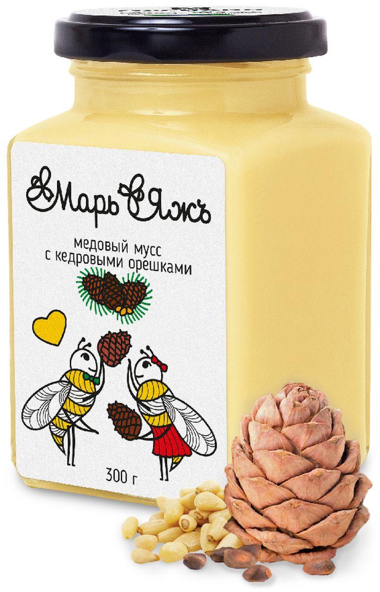 Марь&Яжъ медовый мусс с кедровыми орешками, 300 г5095Как вы знаете, семена сибирского кедра следует употреблять в ограниченных количествах. В нашей композиции их ровно столько, чтобы вы получили порцию витаминов Е, Р, В и целый набор минеральных веществ, но так чтобы мягкий вкус орешков не мешал медовому аромату.