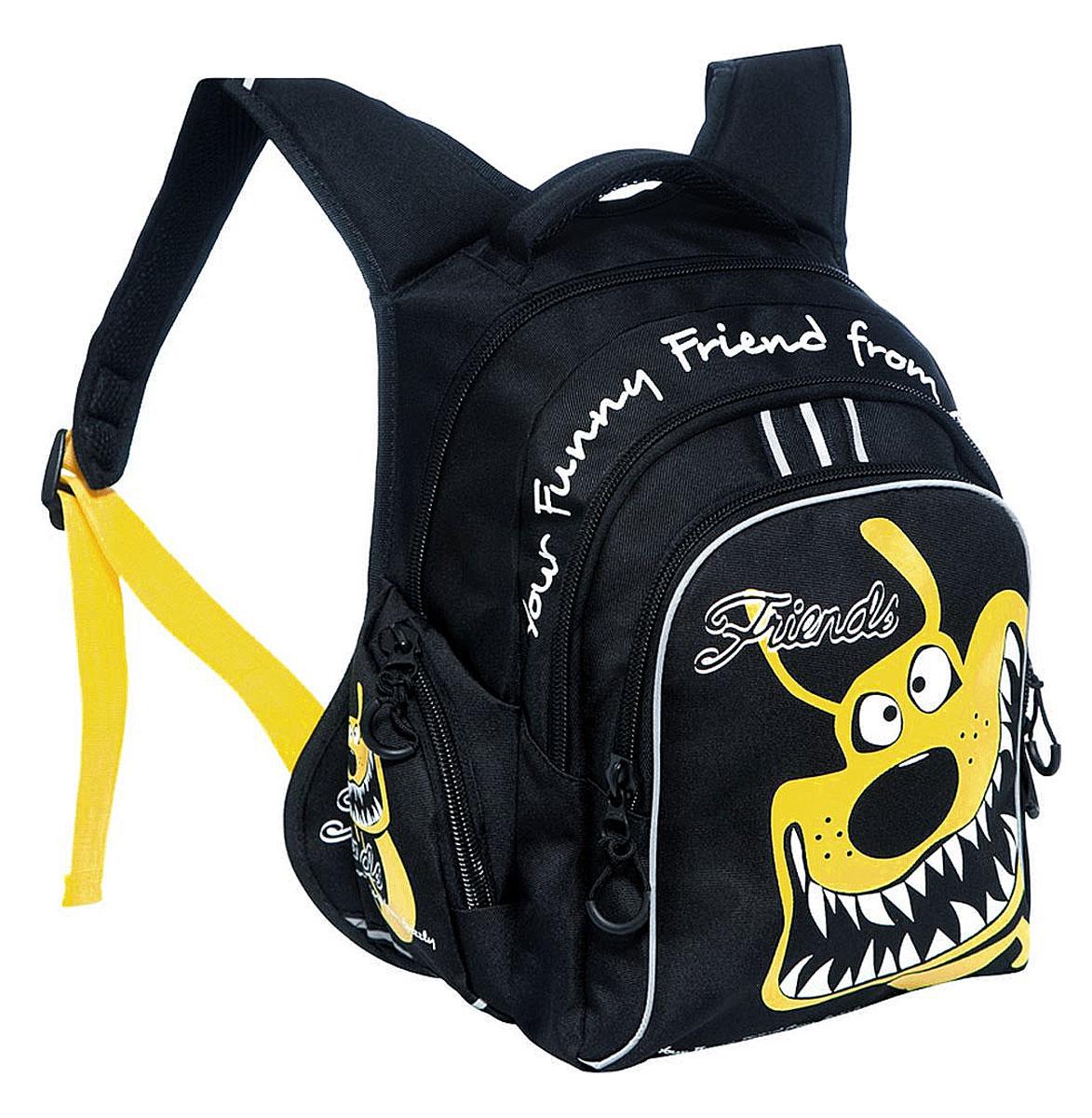 Grizzly Рюкзак детский цвет черный желтыйRB-629-1/4Школьный рюкзак Grizzly - это красивый и удобный рюкзак, который подойдет всем, кто хочет разнообразить свои школьные будни. Рюкзак выполнен из плотного материала и оформлен оригинальным ярким принтом. Рюкзак имеет два основных отделения на молнии. Большое отделение содержит внутри накладной карман на молнии. Второе отделение имеет внутри открытый накладной кармашек и четыре отделения для канцелярских принадлежностей. На лицевой стороне рюкзака имеется большой накладной карман на молнии. Бегунки застежки-молнии дополнены удобными держателями с логотипом Grizzly. По бокам рюкзак дополнен открытыми накладными карманами на резинках. Рюкзак также оснащен удобной ручкой для переноски и светоотражающими элементами. Широкие регулируемые лямки и сетчатые мягкие вставки на спинке рюкзака предохранят мышцы спины ребенка от перенапряжения при длительном ношении. Многофункциональный школьный рюкзак станет незаменимым спутником вашего ребенка в походах за знаниями.