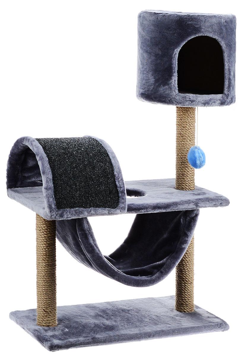 Игровой комплекс для кошек ЗооМарк Кузя, цвет: серый, бежевый, 69 х 37 х 102 см0120710Игровой комплекс для кошек ЗооМарк Кузя прекрасно подойдет для животного, которое длительное время остается одно дома. Обеспечивая уютное место для сна и отдыха, комплекс является отличной игровой площадкой для развлечения скучающего животного. Комплекс изготовлен из дерева и обтянут искусственным мехом. Когтеточка из ковролина на длительное время отвлечет вашу кошку от мягкой мебели и обоев в доме, а подвесная игрушка развлечет питомца. Комплекс имеет несколько ярусов и домик, в котором ваш питомец сможет отдохнуть после игр.Общий размер комплекса: 69 х 37 х 102 см.Размер домика: 31 х 31 х 29 см.