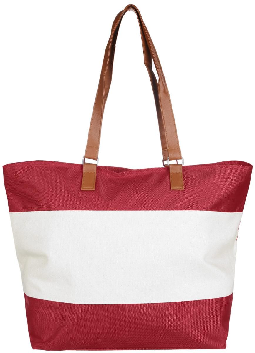 Сумка пляжная женская Fabretti, цвет: красный, светло-бежевый. 5509955099Стильная пляжная женская сумка Fabretti выполнена из высококачественного и износостойкого полиэстера. Изделие состоит из одного вместительного отделения и закрывается на пластиковую застёжку-молнию. Внутри отделения на боковой стенке расположен один нашивной карман на молнии для мелких принадлежностей. Дно дополнено вынимающейся плотной основой для большей устойчивости. Сумка оснащена двумя удобными ручками из искусственной кожи, высота которых позволяет носить сумку на сгибе руки или на плече. Размеры сумки позволят вместить в нее все необходимое, что понадобится вам на пляже. Практичная, яркая и стильная сумка прекрасно завершит ваш образ и будет незаменима в летний период.