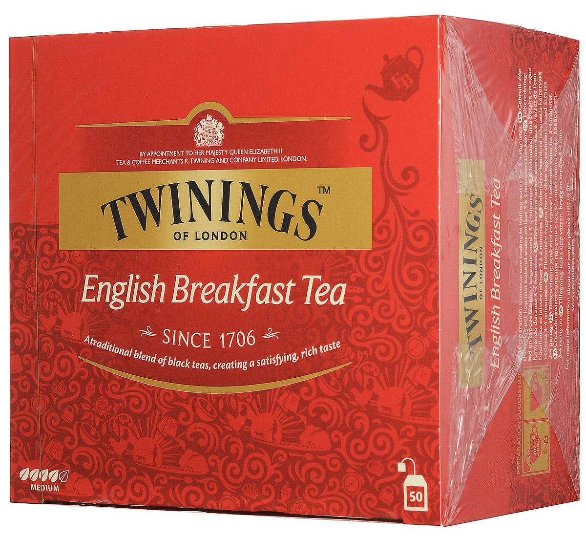 Twinings English Breakfast Tea черный чай в пакетиках, 50 шт070177078904Twinings English Breakfast - классическая смесь черных чаев с насыщенным и приятным вкусом.