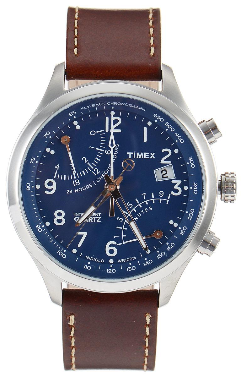 Часы наручные мужские Timex IQ, цвет: коричневый, синий. TW2P78800INT-06501Стильные мужские часы Timex IQ - это модный и практичный аксессуар, который не только выгодно дополнит ваш образ, но и будет незаменим для каждого современного мужчины, ценящего свое время. Корпус с минеральным стеклом выполнен из нержавеющей стали. Циферблат оснащен запатентованной электролюминесцентной подсветкой Indiglo и оформлен символикой бренда. Часы дополнены хронографом, ретроградным указателем второго часового пояса в 24-х часовом формате времени и имеют индикатор даты. Корпус изделия имеет степень влагозащиты 10 Bar, оснащен кварцевым механизмом и дополнен устойчивым к царапинам минеральным стеклом. Ремешок выполнен из натуральной кожи и дополнен пряжкой, которая позволяет с легкостью снимать и надевать изделие.Часы поставляются в фирменной упаковке.Часы Timex подчеркнут ваш неповторимый стиль и дополнят любой наряд.