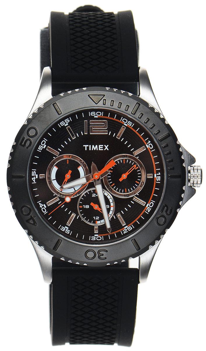 Часы наручные мужские Timex Style Elevated, цвет: черный, серебряный. TW2P87500INT-06501Стильные часы Timex Style Elevated выполнены из нержавеющей стали, металлического сплава и минерального стекла. Циферблат оснащен индикатором дня недели, даты и индикатором времени в формате 12/24, а также оформлен символикой бренда.Корпус изделия имеет степень влагозащиты 5 Bar, оснащен кварцевым механизмом и дополнен устойчивым к царапинам минеральным стеклом. На стрелки нанесен светящийся состав. Ремешок современного дизайна выполнен из силикона и оснащен пряжкой, которая позволит с легкостью снимать и надевать изделие.Часы поставляются в фирменной упаковке.Часы Timex Style Elevated подчеркнут мужской характер и отменное чувство стиля их обладателя.