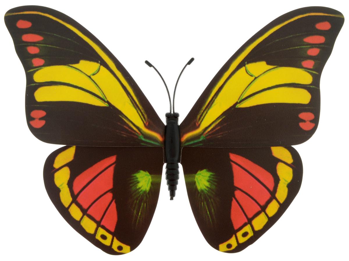 Декоративное украшение Village people Тропическая бабочка, с магнитом, цвет: черный, желтый, красный (12), 12 х 8 смUP210DFДекоративная фигурка Village People Тропическая бабочка, изготовленная из ПВХ и магнита, это не только красивое украшение, но и замечательный способ отпугнуть птиц с грядок. Изделие выполнено в виде бабочки и оснащено магнитом, с помощью которого вы сможете поместить изделие в любом удобном для вас месте. Яркий дизайн изделия оживит ландшафтсада.