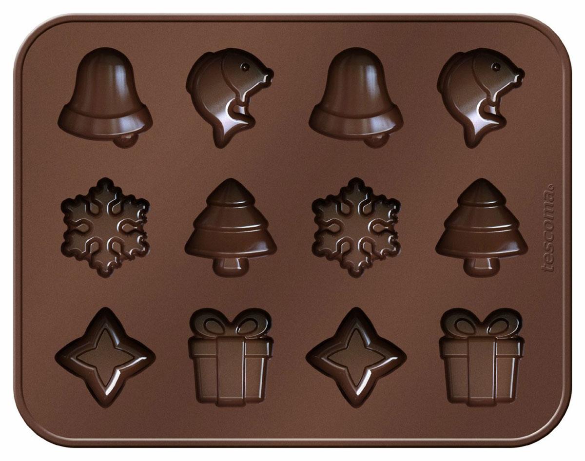 Формочки Tescoma Delica Choco Рождественские мотивы, для шоколада94672Формочки Tescoma Delica Choco Рождественские мотивы отлично подходят для приготовления оригинальных шоколадных конфет и многих других деликатесов в домашних условиях и профессиональной гастрономии. Сделаны из высококачественного эластичного и термоустойчивого силикона, готовый шоколад не липнет и легко вынимается.